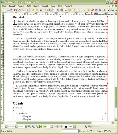 Importovaný text v Scribuse 1.3.5 (Windows)