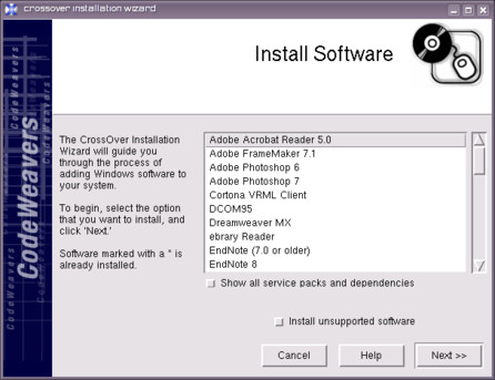 In CrossOver Office you can install optimized Windows applications (which will always run)