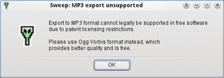 Sweep – export do MP3