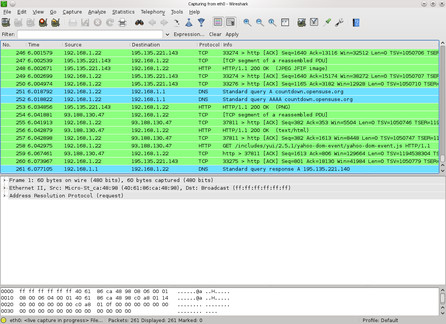 Síťový monitorovací program Wireshark