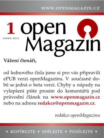 Kliknutím na obrázek si stáhnete openMagazin 01/2011 ve formátu ePUB
