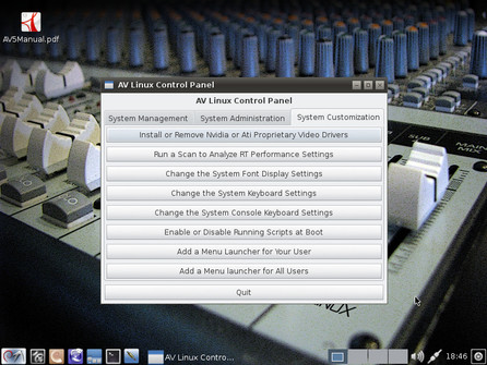 AV Linux Control Panel – System Customization
