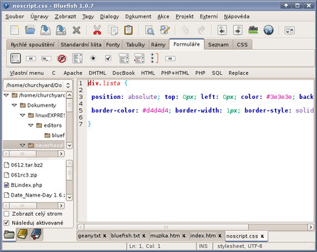 HTML editor Bluefish
