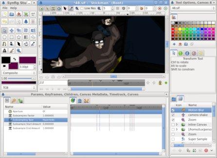 Synfig sice vzhledem připomíná GIMP, ale funkcionalitou nahrazuje Adobe Flash