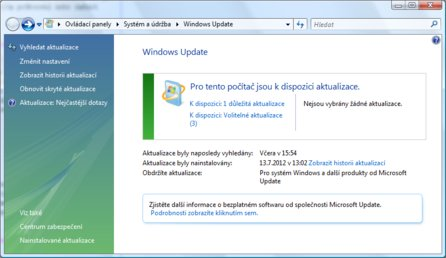 Okno nástroje Windows Update