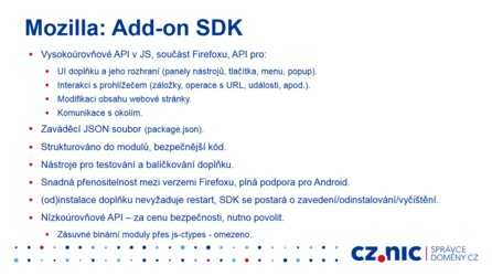 Mozilla Add-on SDK (prezentace Martina Straky)
