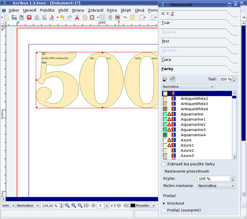 """Textový rámec v tvare čísla """"500"""""""