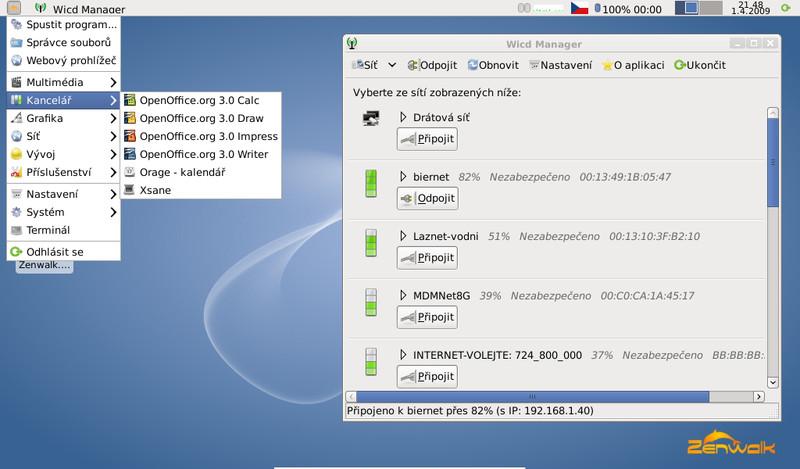 Zenwalk 6.0 na netbooku, správa bezdrátových sítí