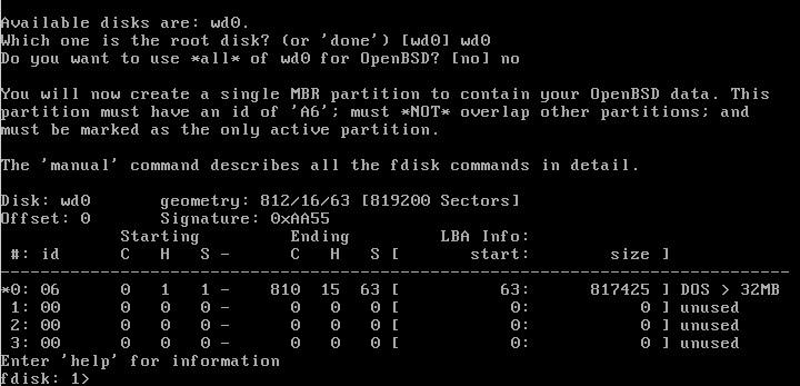 Z uvítacieho okna fdisku pri inštalácii OpenBSD vidieť, že ste v skutočnom Unixe