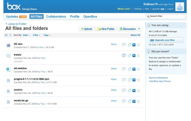 Box.net: Zde je webové rozhraní primárním prostředím