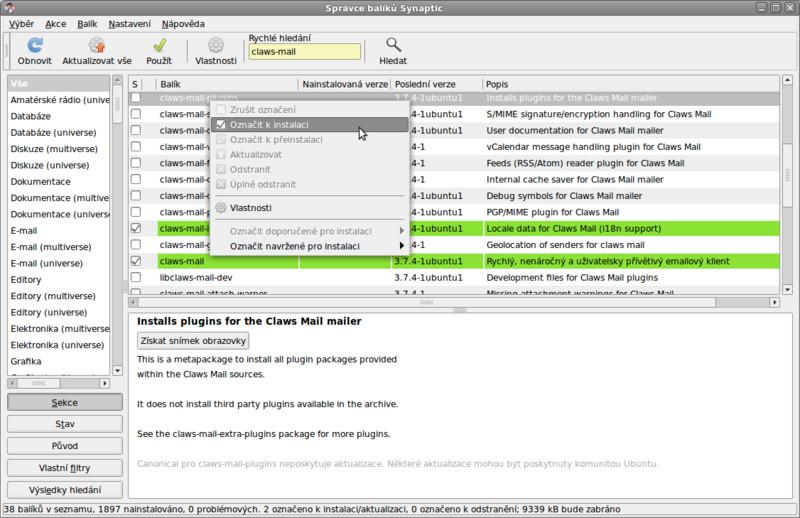 Instalace Claws Mailu pomocí Správce balíků Synaptic na Ubuntu
