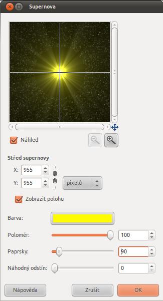 Dialogové okno pro vytvoření supernovy