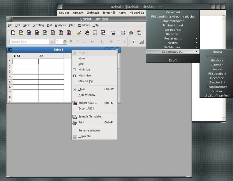 Ovládání vnitřních a vnějších oken je mimo prostředí KDE nekonzistentní