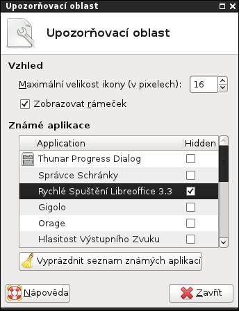 Skrytí Rychlého spuštění LibreOffice