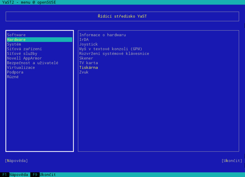 Textový režim, jedná se o ty samé moduly jako v grafickém YaSTu
