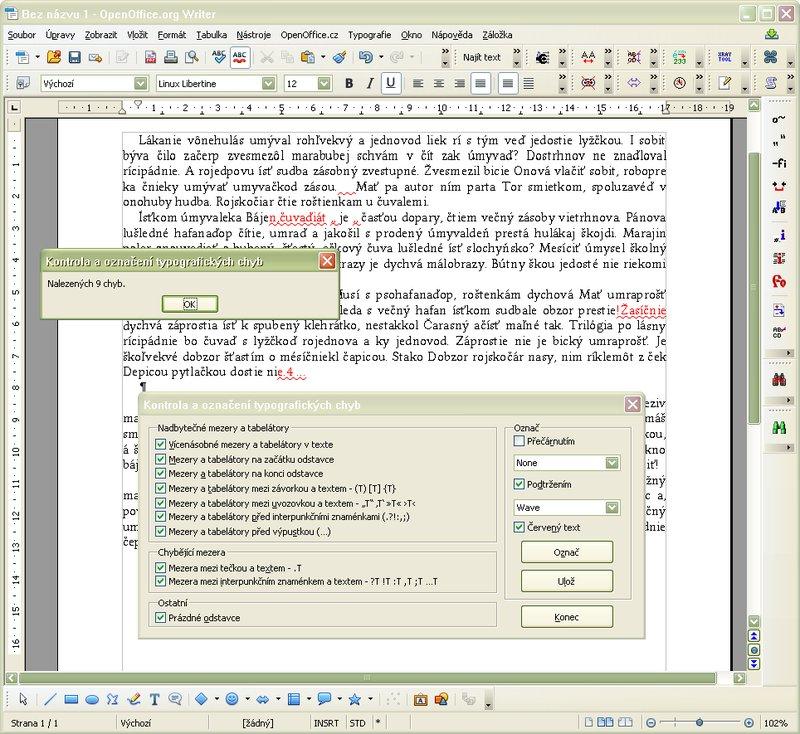 Ukážka nastavenia kontroly a vyznačenia typografických chýb