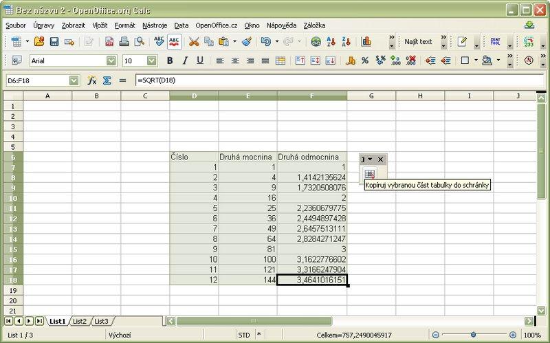 Kopírovanie označenej časti zošitu Calc do internej schránky rozšírenia