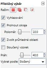 Nastavení parametrů nástroje Přibližný výběr