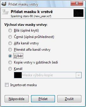 Okno pro nastavení parametrů masky vrstvy