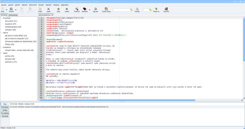 Editace LaTeXového dokumentu v Geany