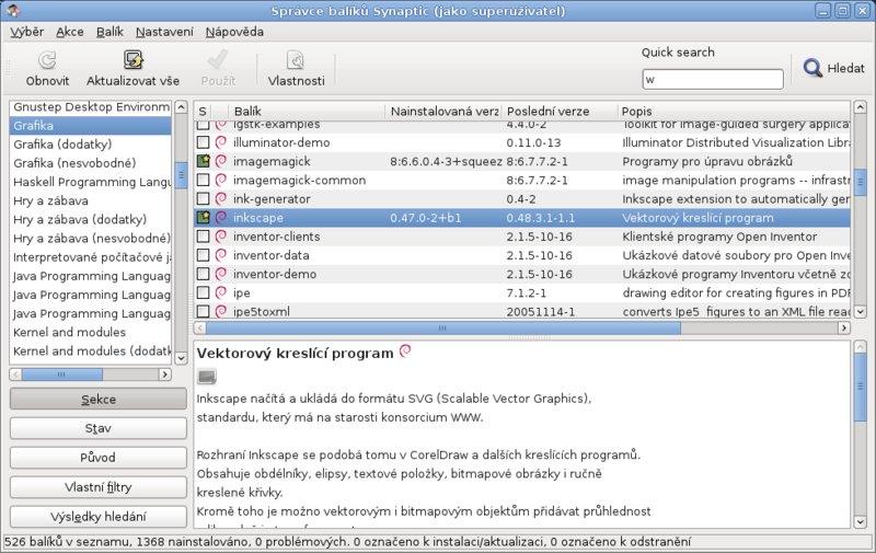 Instalace, odinstalace a aktualizace programů v distribuci Debian (nástroj Synaptic)