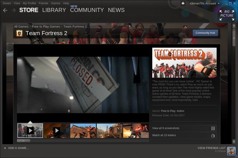 Stránka hry Team Fortress 2