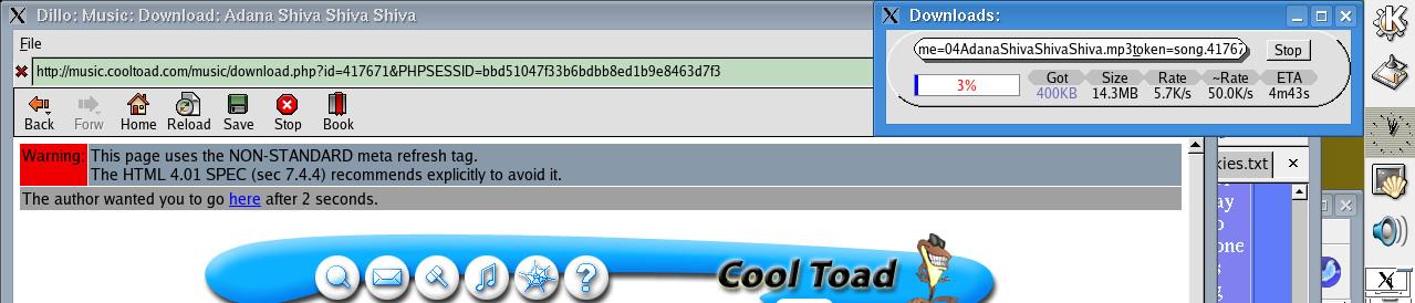 Dillo podporuje aj vyhľadávanie slov na stránke,     sťahovanie súborov či ukladanie záložiek
