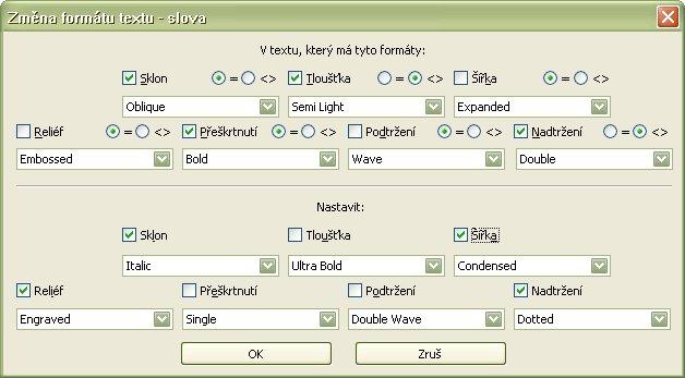 Ukážka možností vyhľadávania a zmeny parametrov textu