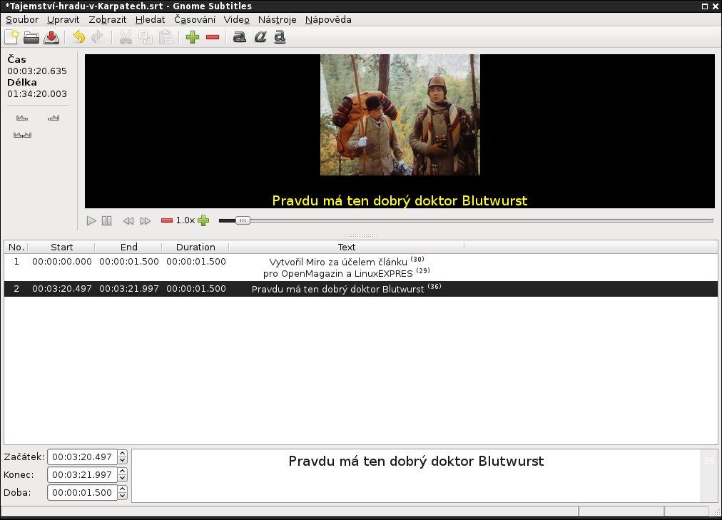 Upravujte a vytvářejte titulky v programu Gnome Subtitles