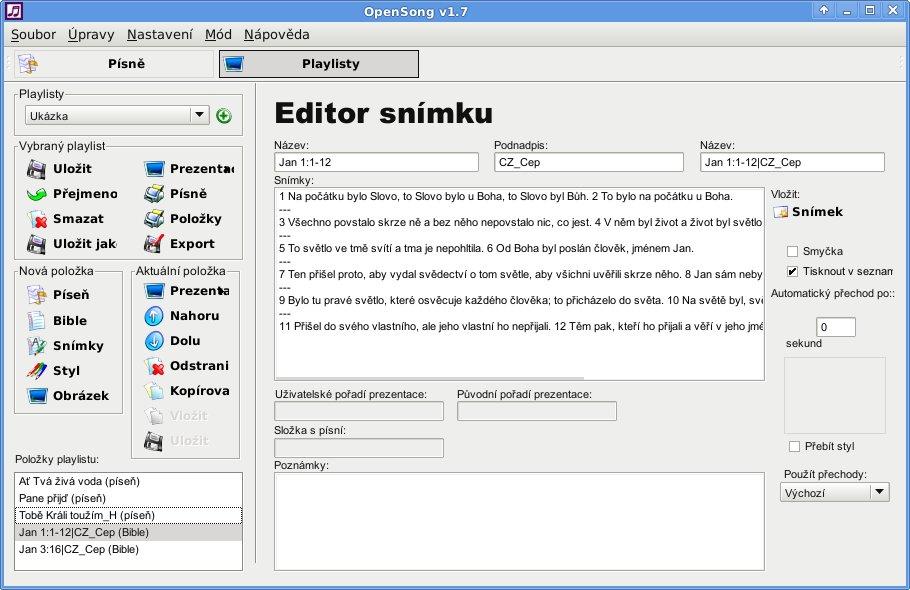 Promítání textů písní a Bible - vhodné pro bohoslužby - Linux