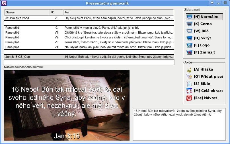 Promítání textů písní a Bible - vhodné pro bohoslužby