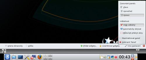 Nastavení panelu v KDE4