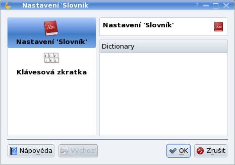 Slovník nelze zatím nastavit