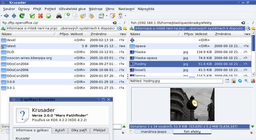 Krusader 2.0.0 - FTP, SSH připojení s náhledy