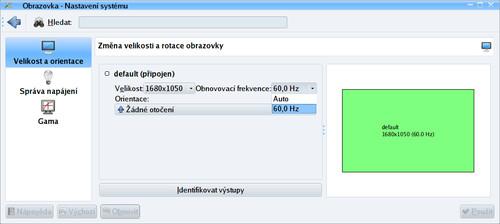 Základní nastavení obrazovky