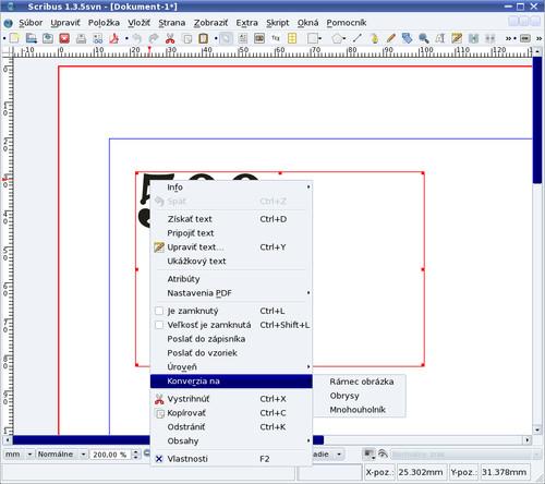 Kontextové menu pre prevod textu do grafickej podoby