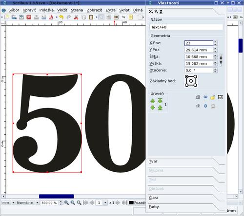 Posun jednotlivých písmen grafického textu