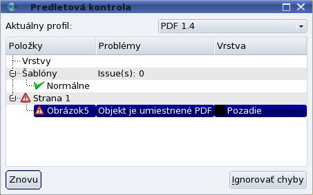 Chybové hlásenie pred exportom do PDF