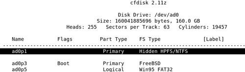 Linuxovský cfdisk vo FreeBSD