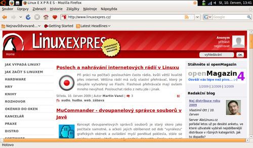 Okno Firefoxu zvětšené pomocí Maximu