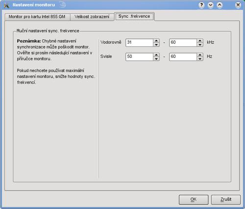 Nastavení rozsahu synchronizačních kmitočtů monitoru