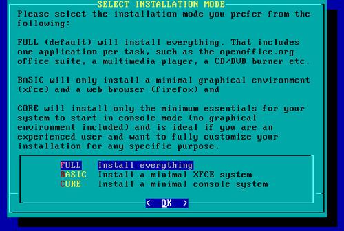 Po zformátování disku budete požádání o zvolení varianty instalace