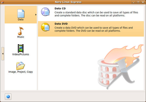 Nero Linux Express, zdroj nero.com