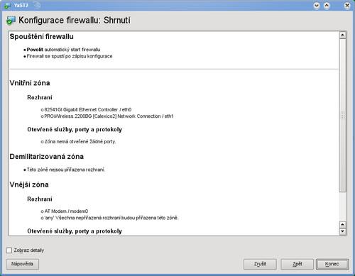 Shrnutí konfigurace firewallu