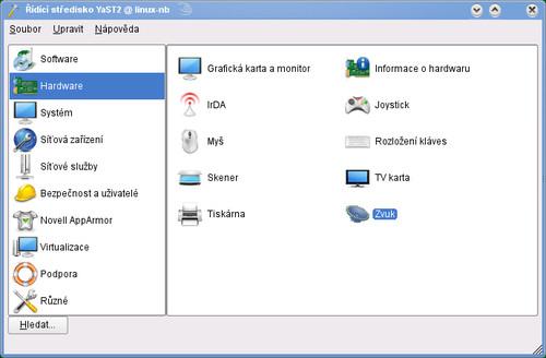 Otevření konfigurace zvukových zařízení