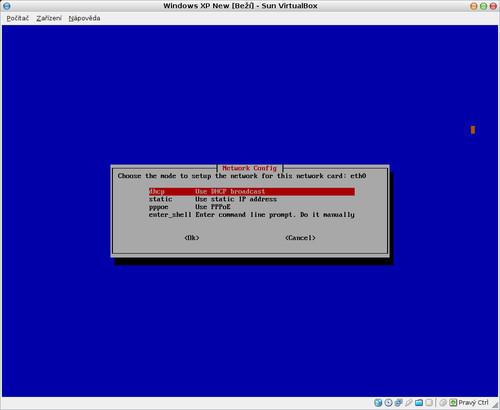 Nastavení sítě v případě přenosu dat na vzdálený počítač