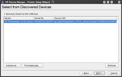 HP Device Manager - nalezená zařízení