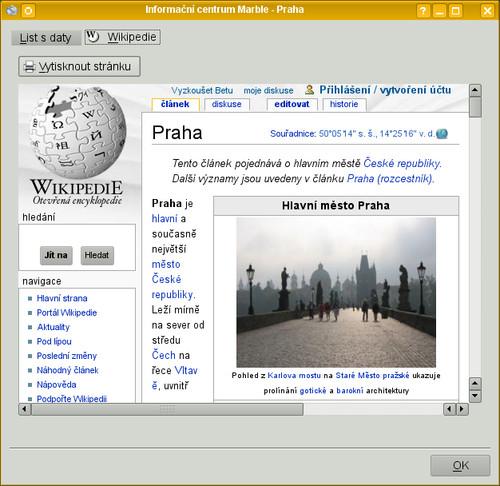 Po kliknutí na textový popisek se stáhnou informace z Wikipedie