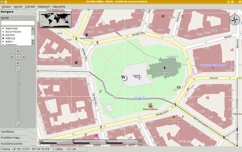OpenStreetMap v akci v centru Prahy