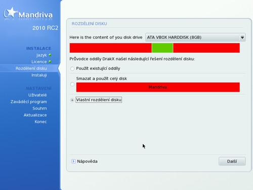 Nový vzhled automatického rozdělování oddílů na disku